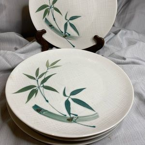 Hand painted bamboo China dinner plate (set of 4).